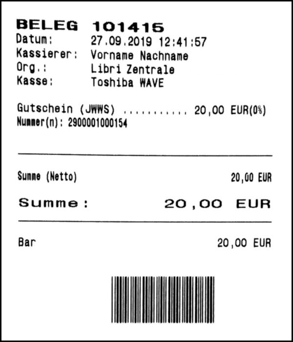 Gutschein-Belege - 02 - Verkaufsbeleg