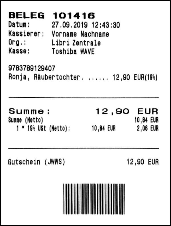 Gutschein-Belege - 04 - Verkaufsbeleg (Einlösung)